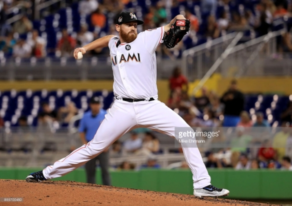 during a game  at Marlins Park on September 29, 2017 in Miami, Florida.